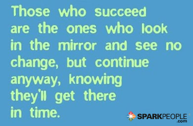 Motivational Quote - Those who succeed are the ones who look in the mirror and see no change, but continue anyway, knowing they'll get there in time.